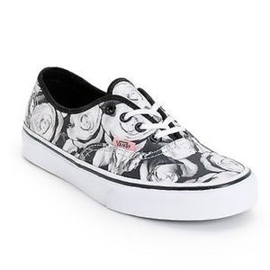 Vans Authentic Black & White Digi Roses Sneakers